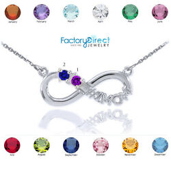 14k White Gold Infinity 1mom Necklace Two Cz Birthstones Jan Feb March April