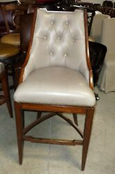 Frontgate Bradford Tufted Pewter Leather Barstool Bar 30 Wood Counter Stool