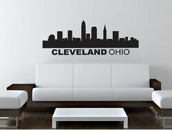Cleveland Ohio Skyline Wall Decal Sticker Home Decor Removable 57x 22