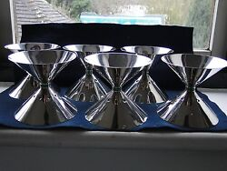 Sterling Silver Art Deco Ice Cream Sundae Bowls Marked And Signed 1930-40 Italian
