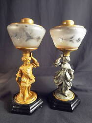 1870-80's Bandh Pair Of Full Figural Victorian Boy And Girl Kerosene Oil Stand Lamps