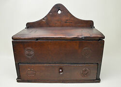 Antique Folk Art Walnut Hanging Spice Box With Hand Carved Designs Early 1800and039s