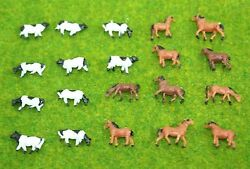 Lot 20 Pcs N Scale Animals Figures 1160 For Model Train Layout Cow Horse