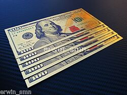 ▓▒░new Golden 100░▒▓ 5x Gold Plated 24k Banknote 100 Dollar Bill W/ Pvc Frame
