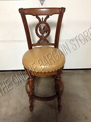 Frontgate Provencal Rooster Swivel Brown Barstool Chair Counter Bar 30 Leather