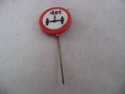 Vintage Foreign Mens Hat Stick Pin Jewelry 4.8t Axle Road Sign