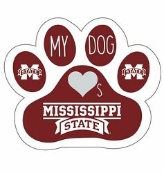 Mississippi State Bulldogs Paw Decal Sticker-my Dog Loves Miss State Sticker