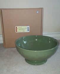Longaberger Footed Bowl Sage Green Pottery Serving Dish Brand New In Box