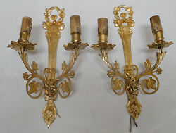 Pair of excelents sconces French style solid and golden Bronze 2 candles *s