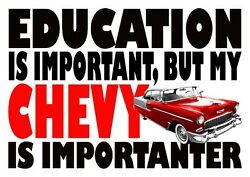 Mens Funny T-shirt Education Chevy Bel-air Ideal Gift Or Birthday Present.