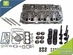 New Kubota D1105 Cylinder Head With Valve Train Kit, Full Gasket And Glow Plugs