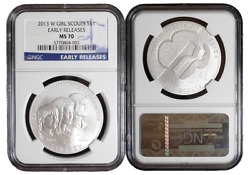 2013-w 1 Silver Girl Scouts Commemorative Dollar Ngc Ms70 Early Releases