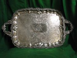 Silver Plated Old Sheffield Tray Engraved Cast Border 1840 English Antique