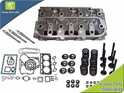 New Kubota D1105 Cylinder Head With Valve Train Kit, Full Gasket And 3 Glow Plugs