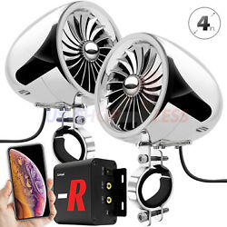 Bluetooth Motorcycle 100w Amp Stereo Speakers Audio Music Fm Radio System Chrome