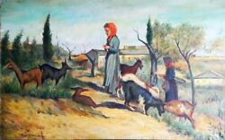 Unknown Unidentified European Shepherds And Goats In Landscape/ Realism Polish