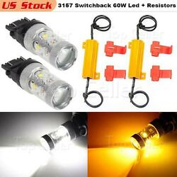 3157 4057 Cree 60W Switchback LED Turn Signal Light + Load Resistors x2