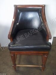 Frontgate Lonsdale Leather Barstool Bar Chair Counter Stool Black Wood Swivel