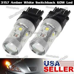 2x 3157 4057 60W Led Switchback Dual Color Turn Signal Light Bulbs for Jeep