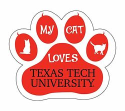 Texas Tech Red Raiders Cat Paw Decal-my Cat Loves Texas Tech Sticker