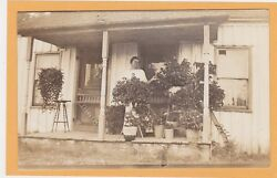 Real Photo Postcard Rppc - Woman With Plants On Porch