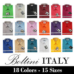 Boltini Italy French Convertible Cuff Solid Mens Dress Shirt All Colors And Sizes