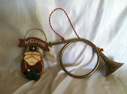 Two Christmas Decorations 1 Trumpet And 1 Santa Entry Way Welcome Wood Sign