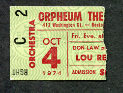 1974 Lou Reed Concert Ticket Stub Orpheum Boston Sally Can't Dance Tour