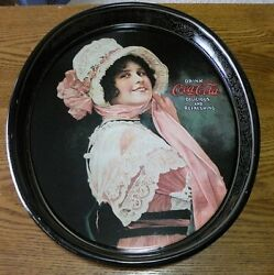 Coca Cola Betty Girl Oval Serving Drink Tray Coke Repro 1972