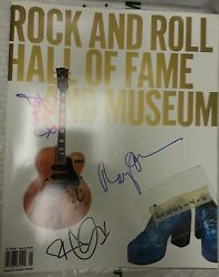 Les Paul Signed Robert Plant Autograph Ray Davies Rock N Hall of Fame Program