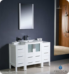 Fresca Torino 48 White Modern Bathroom Vanity 2 Side Cabinets And Integrated Sink