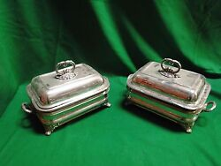 Pair Of Entree Dishes On Stands. Silver Plated English 1850 Old Sheffield