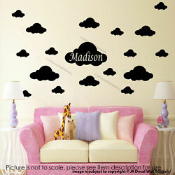Girls Personalised name sticker 30 x Cloud sticker for wall Nursery stickers