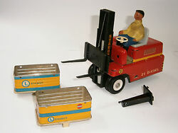 Vintage Rare German Battery Operated Toy Tin Car Forklift Stagor Ms Veb 1950and039s