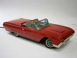 1960and039s Vintage Old Red Tin Toy Car Ford Japan Yonesawa Ford Thunderbird Battery