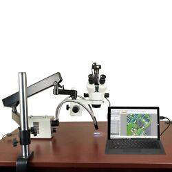 2.1x-225x 5mp Digital Zoom Stereo Articulating Arm Microscope 30w Led Dual Light