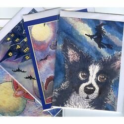 4 assorted greeting Halloween dog cards Border Collie Corgi witch hat costume