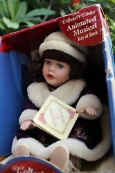 """Collectible Fine Bisque Porcelain Musical Doll """"collectors Choice"""" In Winter Fur"""