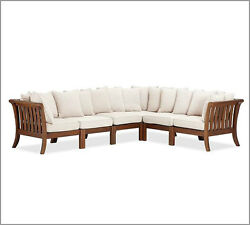 6 Pottery Barn Outdoor Chatham Sectional Side Chair Corner Wood Frame Dark Honey