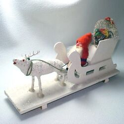 Antique Germany Compo Christmas Belsnickle Santa Sleigh Reindeer