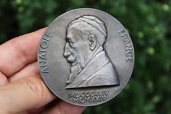 French Antique Silver Medal Anatole France 67mm 168g 1844