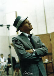Frank Sinatra In Studio 24x34 Poster Vintage-style Candid Fedora Hat And Suit