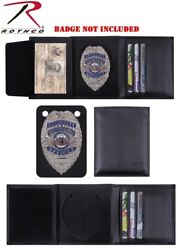 Police Security Guard Badge Shield Id Black Leather Tri-fold Wallet Rothco 1134