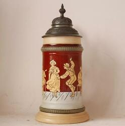 Antique German Hr Hauber And Reuther Porcelain Beer Stein 160 Etched Dance C.1890