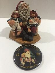 June Mckenna 1993 Santa And039n Friends Signed With Pin Christmas