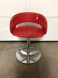 Frontgate Capri Barstool Counter Bar Stool Leather Contemporary Metal Red