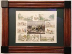 Old Steel Engraving of North America and New York + Natives made in Germany 1846