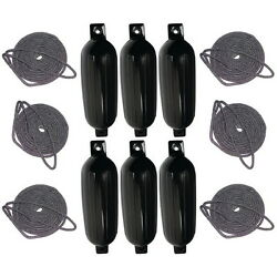 6 Pack 8-1/2 Inch X 27 Inch Double Eye Black Inflatable Vinyl Fenders With Lines