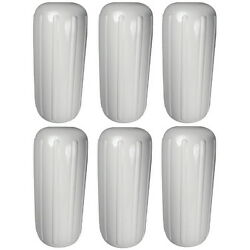 6 Pack 10 Inch X 25 Inch Center Hole White Inflatable Vinyl Fenders For Boats