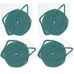 4 Pack Of 1/4 Inch X 6 Ft Forest Green Double Braid Nylon Fender Lines For Boats